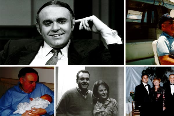 "Clockwise from left: Cooperman on ""Wall Street Week"" in 1982; fishing on a rare day off in 1988; 25th wedding anniversary in 1989, with son Michael, Toby, Regina and Mario Gabelli; with fiance Toby in early 1960s; with one of three grandchildren in 2001"