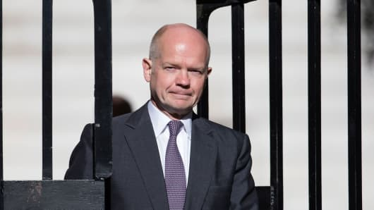 William Hague arriving at Downing Street on July 14, 2014.