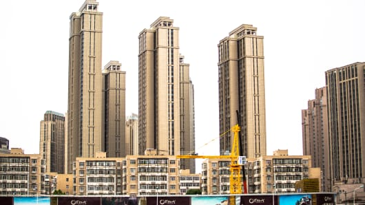 High-rise buildings and real estate advertising in Tianjin, China.