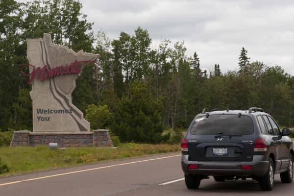 Welcome to Minnesota sign at Grand Portage, Minnesota