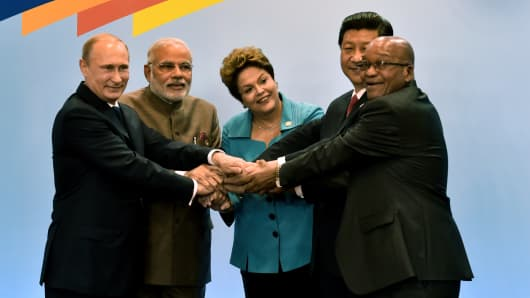 Leaders of the BRICS during the 6th summit in Fortaleza, Brazil, on July 15, 2014