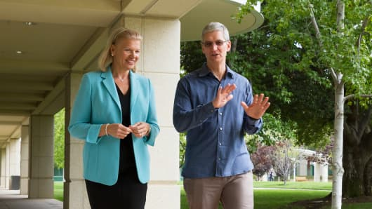 IBM CEO Ginni Rometty and Apple CEO Tim Cook.
