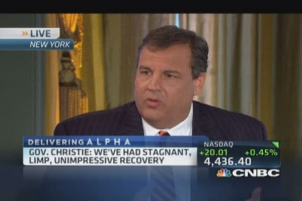 Christie: Economic recovery 'unimpressive'