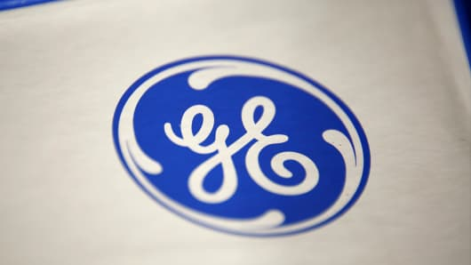 The General Electric logo is seen on a microwave oven sale at a Lowe's store in Torrance, Calif.