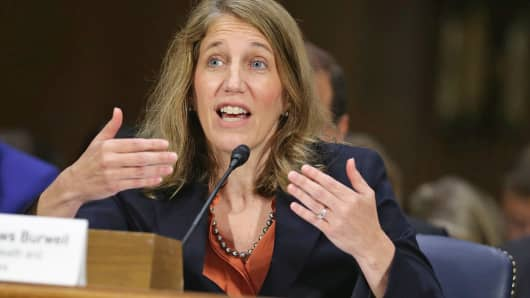 Health and Human Services Secretary Sylvia Mathews Burwell testifies before the Senate Appropriations Committee Capitol Hill in Washington.