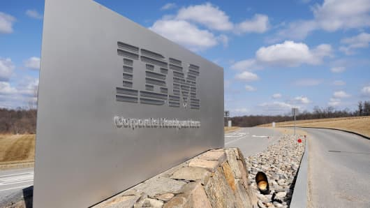 A sign marks the entrance to IBM headquarters in Armonk, New York.
