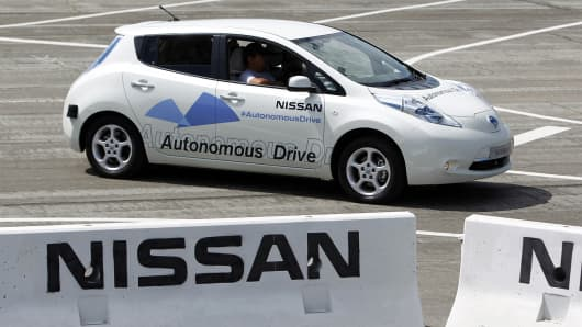 The Nissan Autonomous Drive Leaf electric vehicle is test driven during the Nissan 360 event in Irvine, Calif.