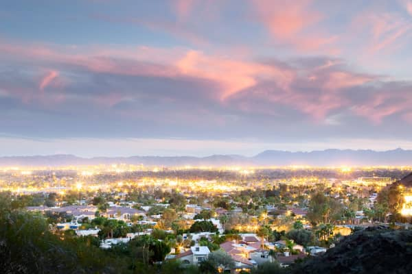 A view of Phoenix at dusk