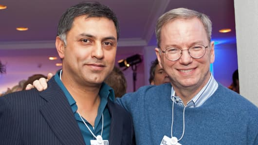 Google Chief Business Officer Nikesh Arora, left, and CEO Eric Schmidt attend the Burda DLD Nightcap 2011 in Davos, Switzerland.