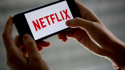 The Netflix logo displayed on an iPhone 5s.