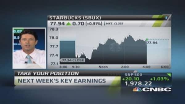 Earnings next week: Starbucks, Apple & more