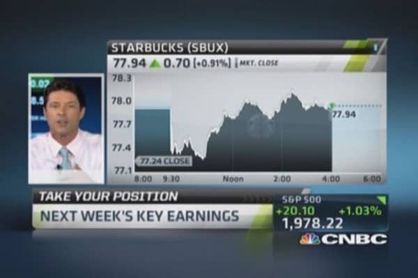 Earnings next week: Starbucks, Apple & more