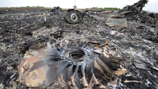 Wreckage of MH17 near the town of Shaktarsk, in rebel-held east Ukraine.