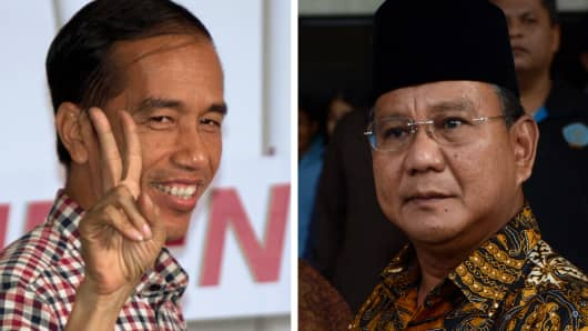 Presidential candidates Joko Widodo (left) and Prabowo Subianto (right).