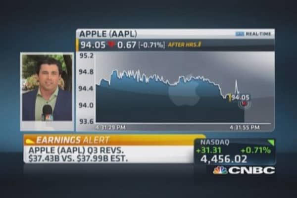 Apple reports Q3 EPS beat