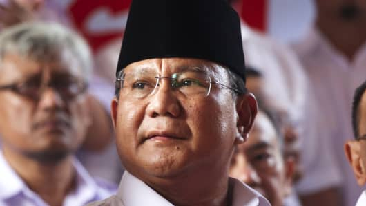 Indonesian Presidential Candidate and Retired General Prabowo Subianto.