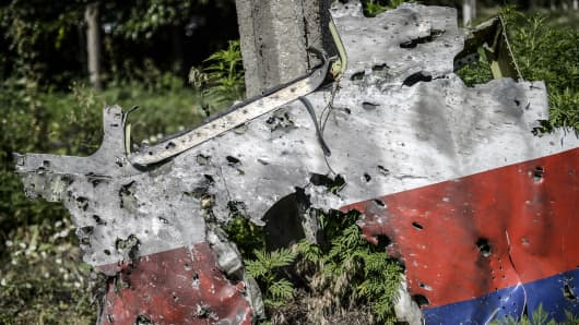 A part of the fuselage of the downed Malaysia Airlines flight MH17 is pictured in a field near the village of Grabove, in the Donetsk region, on July 23, 2014.