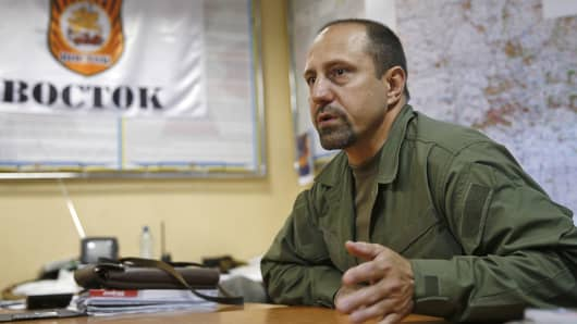 Ukrainian rebel commander Alexander Khodakovsky speaks during an interview in Donetsk, Ukarine.