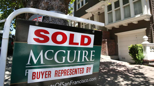A sold sign is posted in front of a home in San Francisco.