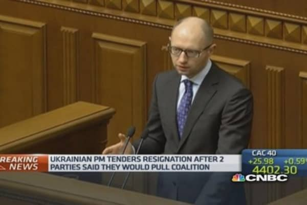Ukraine's prime minister resigns