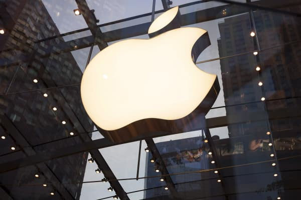 The Apple logo is displayed at the Upper West Side Apple store in New York.