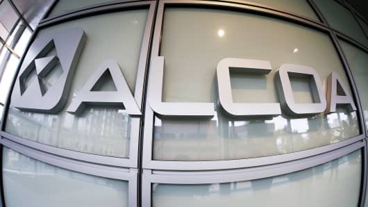 The Alcoa logo is shown in the lobby of Alcoa's headquarters in Pittsburgh.