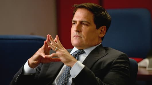 "Mark Cuban is shown in an episode of ""Necessary Roughness."""
