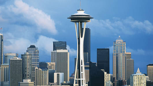 The Space Needle is shown in downtown Seattle.
