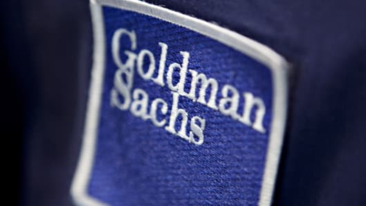 A patch bearing the Goldman Sachs Group logo is pictured on a trading jacket on the floor of the New York Stock Exchange in New York.