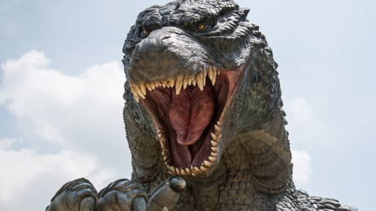 A replica of the famous Godzilla in Tokyo.