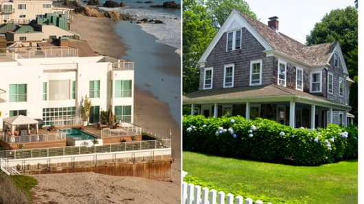 From left: Malibu coast and a house in the Hamptons, New York.