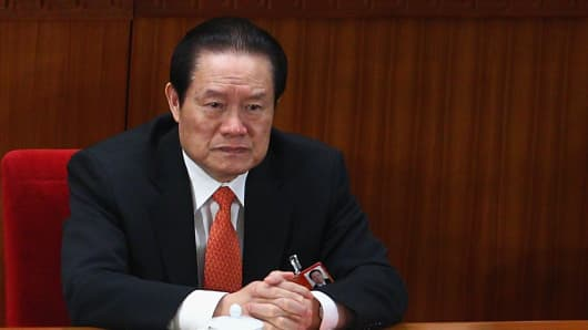 Zhou Yongkang, one of the members of the nine-seat Politburo Standing Committee, attends the closing of the National People's Congress at the Great Hall of the People on March 14, 2011 in Beijing, China.