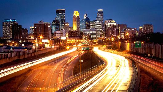 The skyline of Minneapolis.