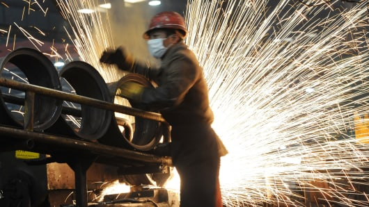 A Chinese worker at a steel mill in Hefei, China.