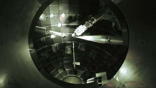 Instruments are viewed inside the target chamber at Lawrence Livermore lab's National Ignition Facility.