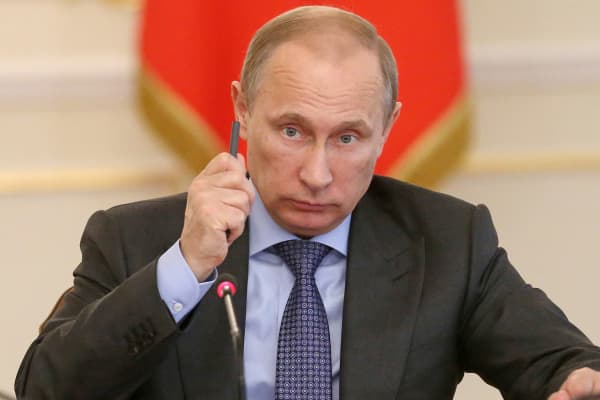 Russian President Vladimir Putin attends a government meeting on the Russian economy, in Moscow.