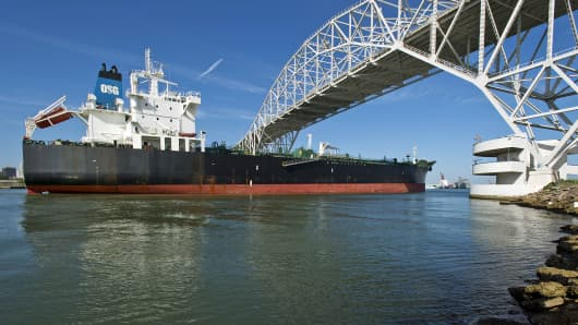 The Overseas Santorini tanker sails under the Harbor Bridge into the Port of Corpus Christi in Corpus Christi, Texas.