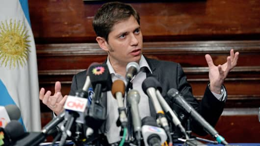 Axel Kicillof, Argentina's economy minister, speaks during a press conference at the Argentina Consulate in New York.