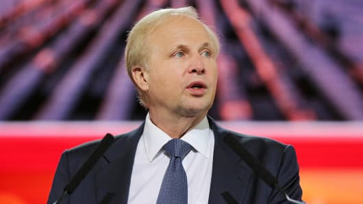 BP CEO Robert Dudley speaks during a plenary session at the 21st World Petroleum Congress in Moscow.
