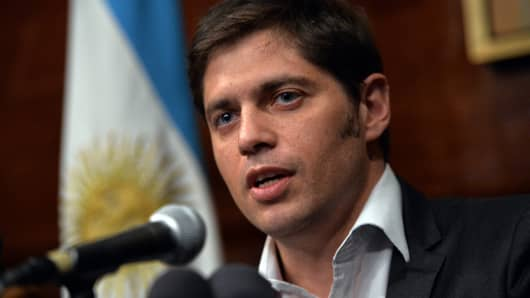 Argentina's Economy Minister Axel Kicillof speaks during a press conference at the Argentina Consulate July 30, 2014 in New York as talks continue into Argentina's debt.