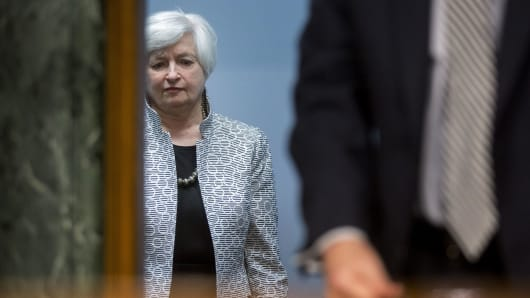 Janet Yellen, chair of the U.S. Federal Reserve, arrives to a Senate Banking Committee hearing in Washington, D.C., U.S., on Tuesday, July 15, 2014.