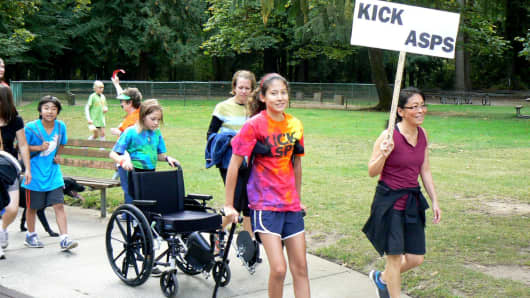 Nathalie participating in the Northwest Sarcoma Foundation's annual Dragonslayer Walk for Sarcoma in September 2012.