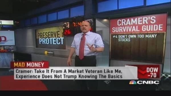 Cramer says don't own too many stocks