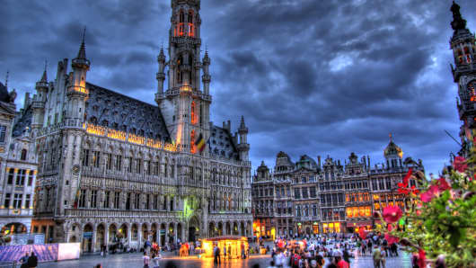 Grand Place, Brussels, at night.