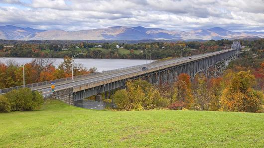 The Catskill Mountains Rip Van Winkle Bridge in the Hudson River Valley, New York.