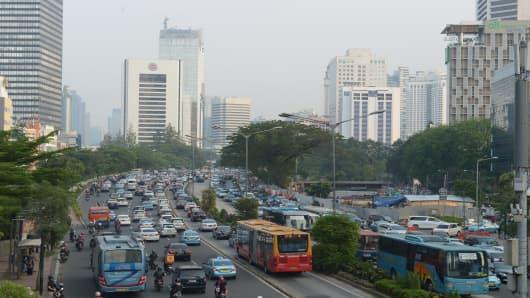 A scene of Jakarta, Indonesia.