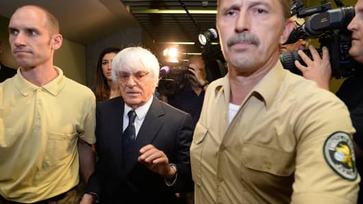 Bernie Ecclestone, the head of Formula One racing, gives an interview while leaving the Oberlandesgericht Muenchen courthouse after judges agreed to conclude his trial for bribery on August 5, 2014 in Munich, Germany.