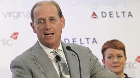Delta CEO Richard Anderson speaks during a news conference in New York.