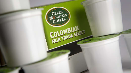 Keurig Green Mountain Coffee Roasters single-serve K-Cup coffee capsules are shown in New York.