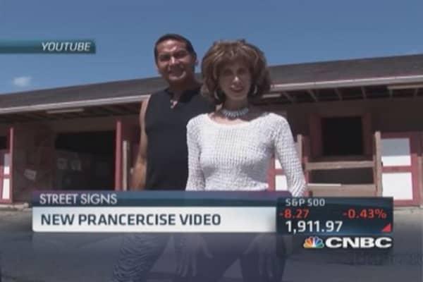 Aerial 'prancercise' video